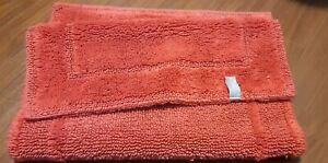 "VTG LANDS' END HOME plush bath MAT rug rust orange 20x33"""