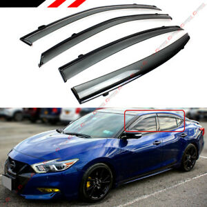 FOR 2016-2021 NISSAN MAXIMA VIP CLIP-ON SMOKE TINTED WINDOW VISOR W/ BLACK TRIM