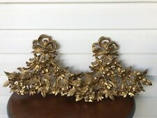 Pair of Vintage Gold Floral Wall Plaques Faux Wood Italy Hollywood Regency