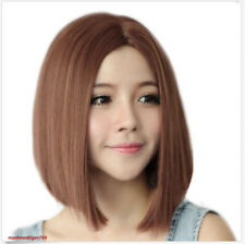 Synthetic Short Bob Hair Light Brown Straight Wig Side Part Women Fashion Wigs