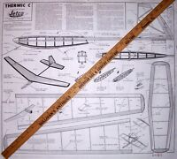 "Jetco THERMIC ""C"" PLAN + PARTS PATTERNS To Build a Towline Glider Model Airplane"