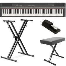 Yamaha P125 88 Digital Piano - Black Bundle w/ Double X Stand, Bench & pedal