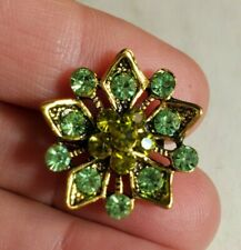 "Flower 7/8"" Small Tiny Gold Tone Green Peridot Color Glass Rhinestone Brooch Pin"