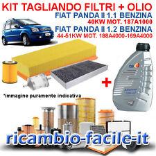 KIT TAGLIANDO FIAT PANDA 1.1 1.2 BENZINA 3 FILTRI + 4 LITRI OLIO Q8 10W40