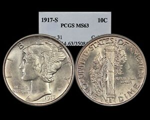 1917-S Mercury Dime graded MS63 by PCGS. Extremely Nice for Grade!!!
