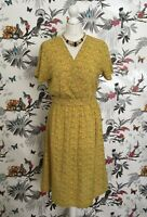 *Vintage* 1980s Provence Yellow Floral Summer Lightweight  Midi Dress Size 12 14