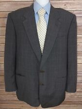 Canali Men's 100% Wool Check Gray Two Button Blazer Sport Coat Size 46 L Italy