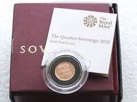2018 British Royal Mint Gold Proof Quarter Sovereign Coin Box Coa - Privy Mark