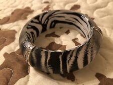 Brighton Zebra Acrylic Silver Trim Bracelet