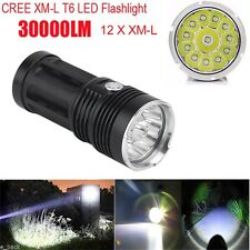 30000LM 12x CREE XM-L T6 LED Flashlight 3 Mode 4x 18650 Hunting Light Lamp Torch