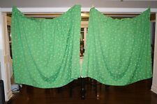 VINTAGE RETRO CUSTOM DRAPERIES DAISIES GREEN LOT OF 2