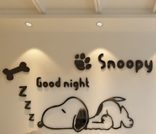 Snoopy Cartoon Wall Sticker 3D Plastic Acrylic Wall Decal Kids Bed Play Room