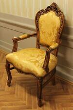 Antik Esszimmerstuhl, Barockstil, goldfarbener Stoff