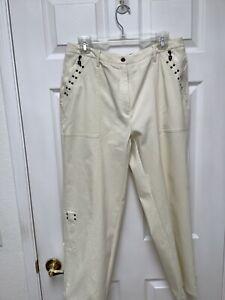Jamie Sadock Women's Golf Pants14 Ivory Metallic Decorations Zippers Logo