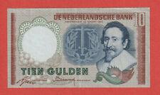 NETHERLANDS HOLLAND -10 Gulden Banknote 1953 - De Groot type - Superb XF- LOOK!