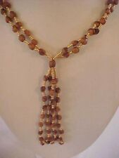 Prayer Bead Necklace Double Strand Fringe Tassel Gold Brown Beads 32""