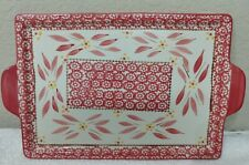1- Temptation By Tara Qvc Old World Cranberry Flat Rectangular Tray With Handles
