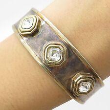 """Italy 800 Silver C Z Wide Handmade Cuff Bracelet 6.5"""""""