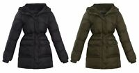 Womens Long Sherpa Padded Winter Fleece Hooded Quilted Jacket Coat Size 8-16