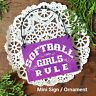 DECO Mini Sign SOFTBALL GIRLS RULE Fast Pitch Purple Ornament Team Gift Favor