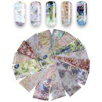 16x Holographische Nagelfolien Blume Shell Nail Art Sternenhimmel Aufkleber Neu