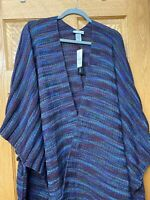 Catherines Burgundy, Blue, Turquoise RUANA CAPE Open front Wrap Shawl Jacket NWT