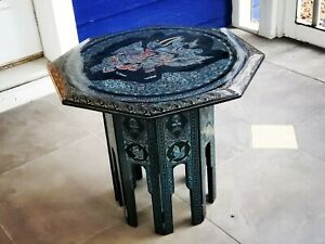Vintage Burmese Octagon Wood Lacquer Accent Table - Burma Myanmar Asian Painted