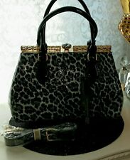 BN Eco Frendly Frame Handbag in Gorgeous Leopard and Patent with Crystal Closure