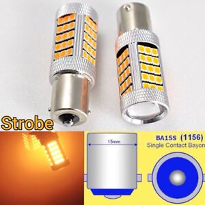 Strobe 1156 P21W 3497 7506 63 LED Projector Amber Rear Signal Light B1 #1 For GM
