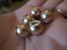 5PCS PEARL ACRYLIC BEADS CHARMS TO FIT EUROPEAN BRACELET / NECKLACE. 5MM HOLE