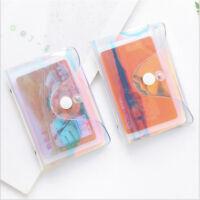 Clear Rainbow Laser Hologram Transparent ID Credit Card Storage Wallet Holder S