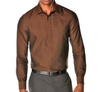 PERRY ELLIS MEN'S - BUTTON DOWN SHIRT TOP LONG SLEEVE - SLIM FIT CHESTNUT BROWN