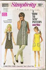 Vtg 60s Easy Girls A-Line Shift Dress Sewing Pattern Junior Teen 9 10 B 30 1/2""