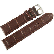 20mm Mens Fluco Brown Crocodile-Grain Leather German Made Watch Band Strap
