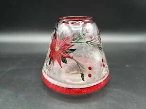 Yankee Candle Holiday Poinsettia Crackle Glass Small Shade Topper Red Christmas