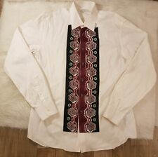 Vintage Prada Men's White Button Down Printed Shirt Long Sleeve Sz 43/17