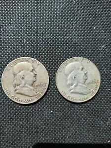 2  1952 FRANKLIN HALF DOLLARS