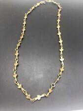 "Vintage Jeep Collins Brass Heart Chain Necklace 24"""