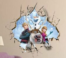 DISNEY FROZEN Anna Kristoff Sven Olaf 3D Wall Stickers Decal Removable for Home