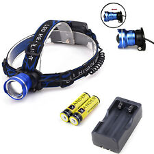 Hot T6 LED Headlamp 5000LM Torch Outdoor Camping Lighting + Charger +2x Battery