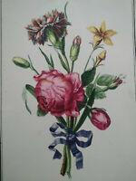 Grande planche botanique fleurs Roses oeillets superbe état signée Avril flore