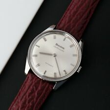 Vintage BULOVA AMBASSADOR Stainless Steel Thin Watch Leather Band Runs Great