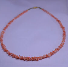 POLISHED CORAL CHIP NECKLACE 17.5 INCHES LONG