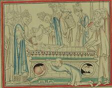 1250 Edward le Confesseur Enterrement Henry Shaw 1858 main de couleur Imprimé