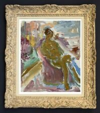 RAYA SAFIR (1909-2004) PEINTURE FAUVISTE SUPERBE NU DANS L'ATELIER 1950 (236)