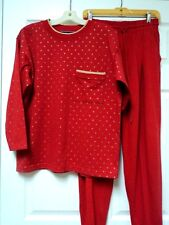 Melbourne Classix 2-Pc Outfit (M) Red Top Pants Gold Metallic Sparkly Stars