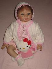 Reborn Puppe, Baby, 55cm, blaue Augen, braune Haare, Sammlerpuppe, neu