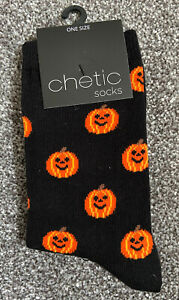 Ladies/Girls Black With Orange Halloween Pumpkins On Cotton Ankle Socks