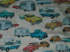 Retro Cars Trailers Campers Rvs Trucks Woody Cream Beige Cotton Fabric Bthy