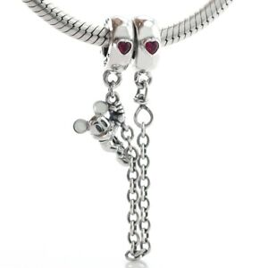 925 Sterling Silver Climbing Mickey Safety Chain Red CZ Charm Fit Bracelet